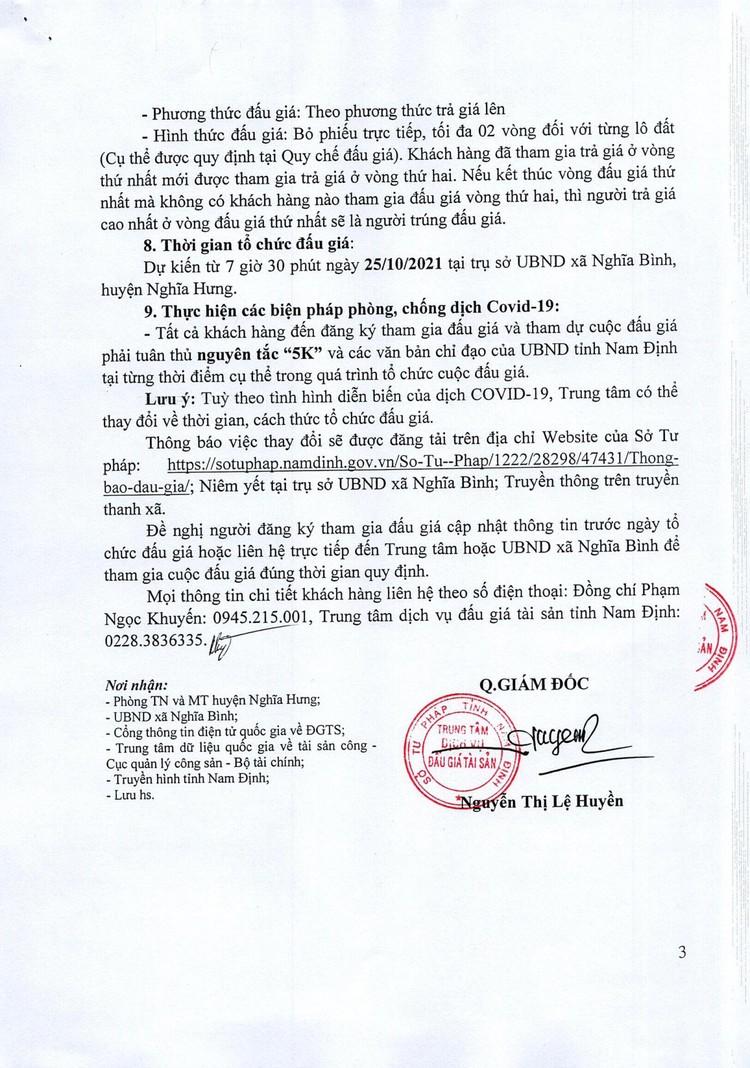 Ngày 25/10/2021, đấu giá quyền sử dụng đất tại huyện Nghĩa Hưng, tỉnh Nam Định ảnh 4
