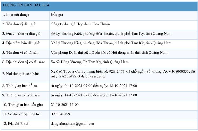 Ngày 21/10/2021, đấu giá xe ô tô Toyota Camry tại tỉnh Quảng Nam ảnh 1