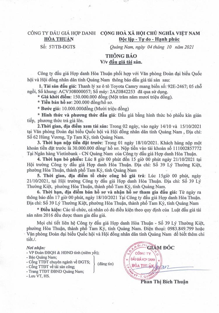 Ngày 21/10/2021, đấu giá xe ô tô Toyota Camry tại tỉnh Quảng Nam ảnh 2