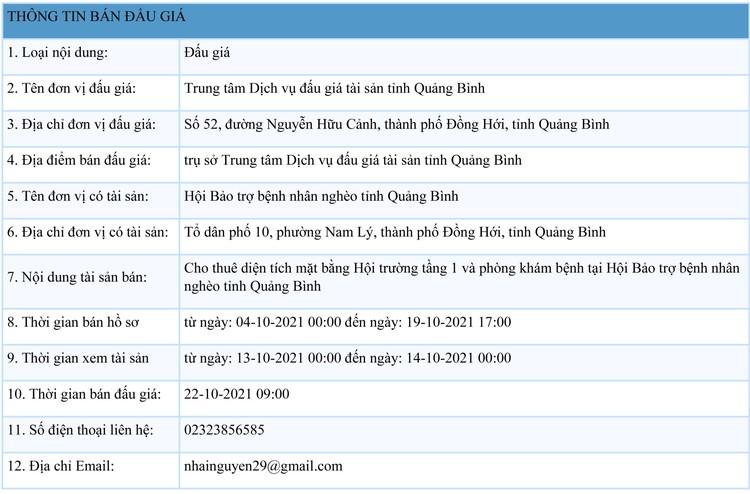 Ngày 22/10/2021, đấu giá cho thuê diện tích mặt bằng tại tỉnh Quảng Bình ảnh 1