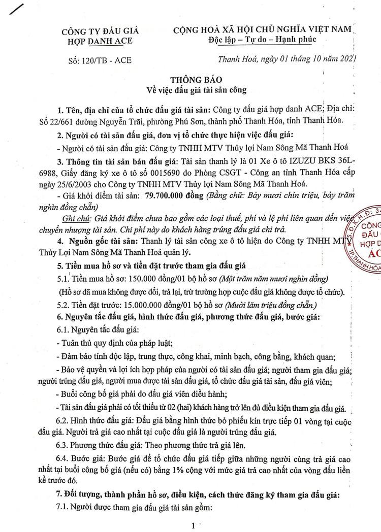Ngày 19/10/2021, đấu giá xe ô tô IZUZU tại tỉnh Thanh Hoá ảnh 2
