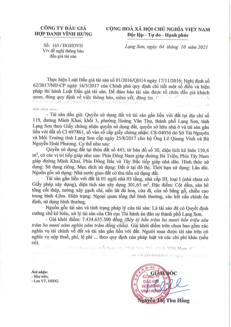 Ngày 28/10/2021, đấu giá quyền sử dụng đất tại thành phố Lạng Sơn, tỉnh Lạng Sơn ảnh 2