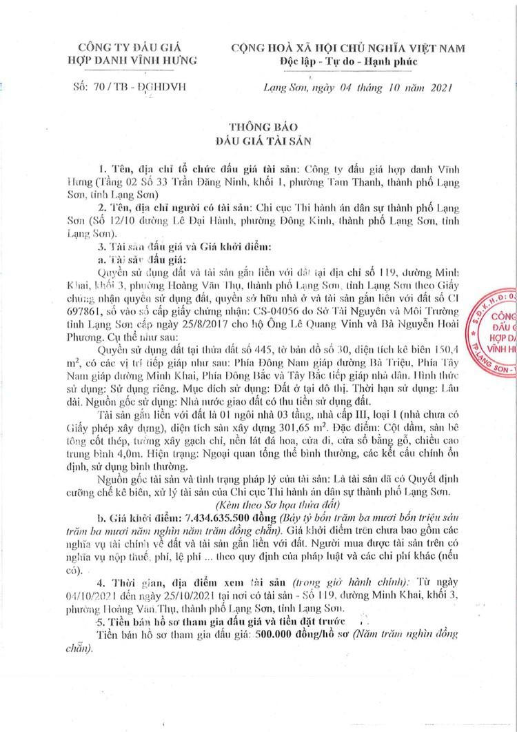 Ngày 28/10/2021, đấu giá quyền sử dụng đất tại thành phố Lạng Sơn, tỉnh Lạng Sơn ảnh 3