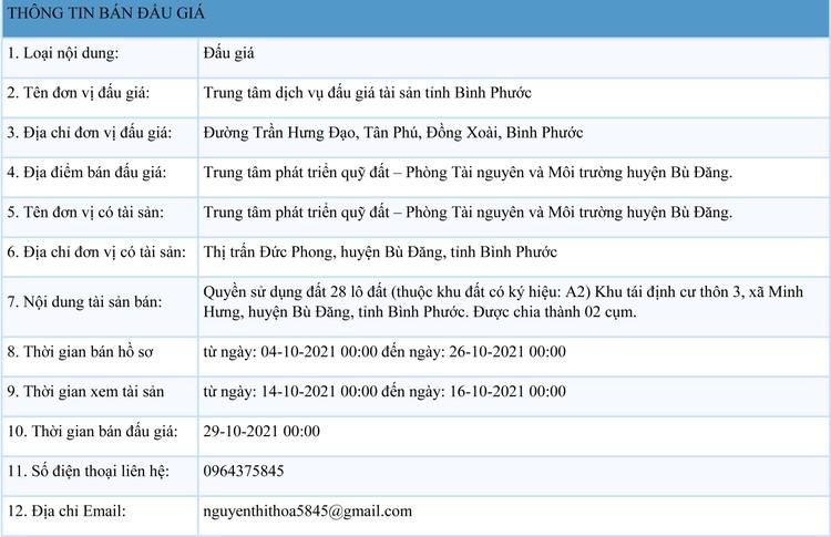 Ngày 29/10/2021, đấu giá quyền sử dụng 28 lô đất tại huyện Bù Đăng, tỉnh Bình Phước ảnh 1