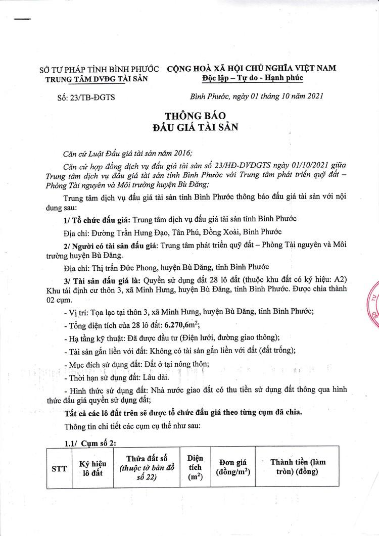 Ngày 29/10/2021, đấu giá quyền sử dụng 28 lô đất tại huyện Bù Đăng, tỉnh Bình Phước ảnh 2