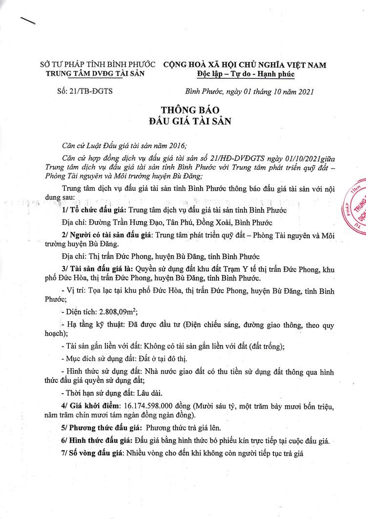 Ngày 29/10/2021, đấu giá quyền sử dụng đất tại huyện Bù Đăng, tỉnh Bình Phước ảnh 2