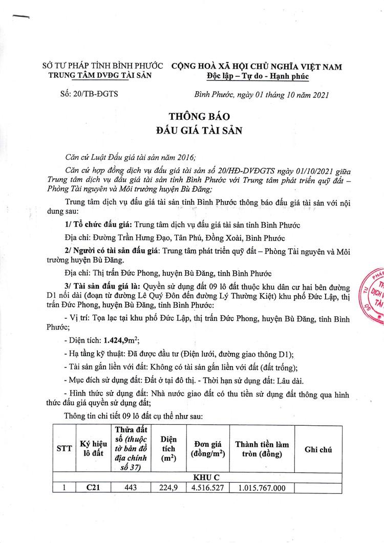Ngày 29/10/2021, đấu giá quyền sử dụng 9 lô đất tại huyện Bù Đăng, tỉnh Bình Phước ảnh 2