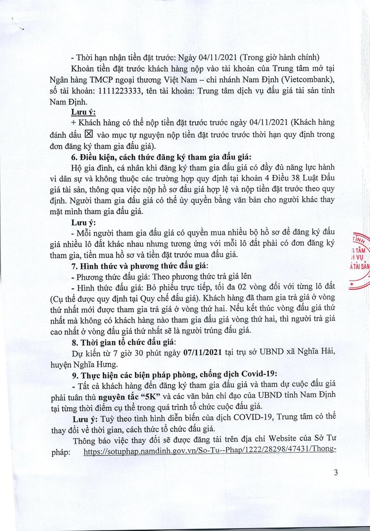 Ngày 7/11/2021, đấu giá quyền sử dụng đất tại huyện Nghĩa Hưng, tỉnh Nam Định ảnh 4