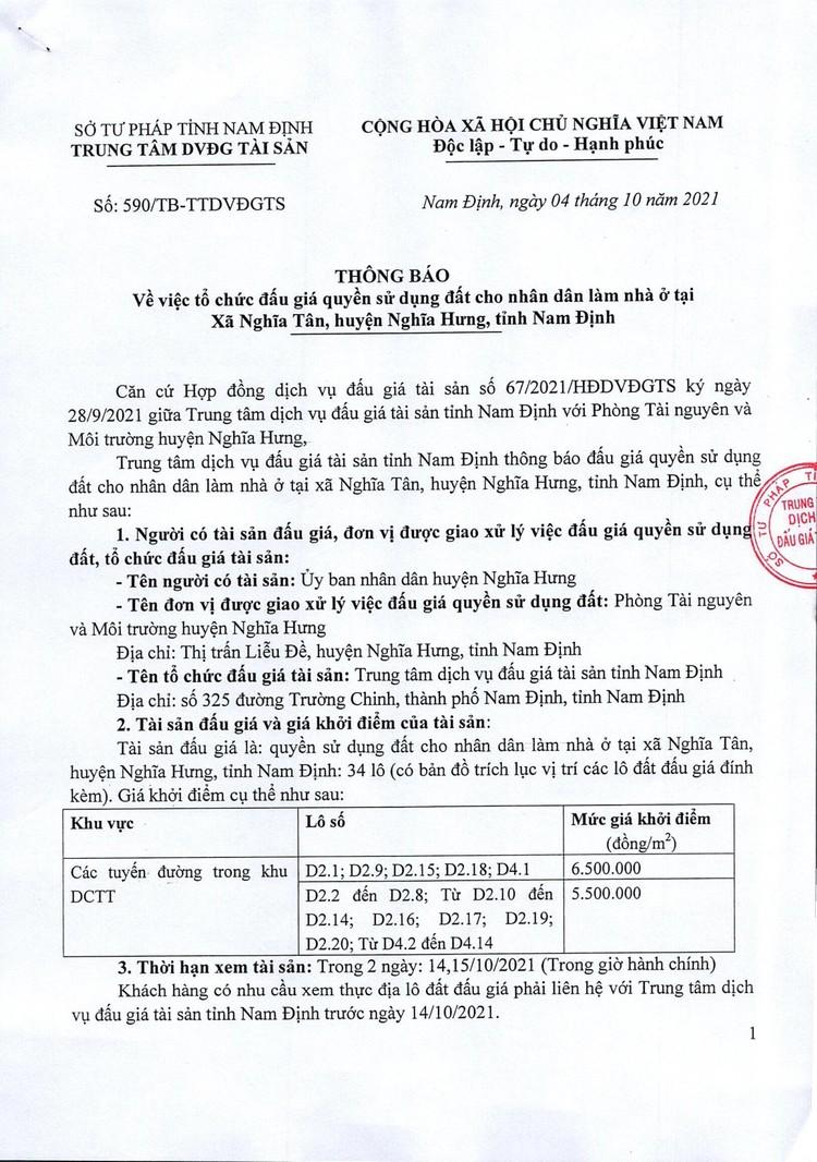 Ngày 6/11/2021, đấu giá quyền sử dụng đất tại huyện Nghĩa Hưng, tỉnh Nam Định ảnh 2
