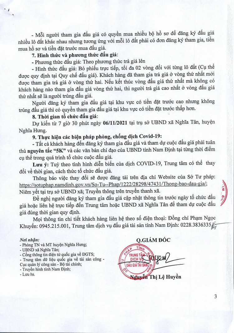 Ngày 6/11/2021, đấu giá quyền sử dụng đất tại huyện Nghĩa Hưng, tỉnh Nam Định ảnh 4