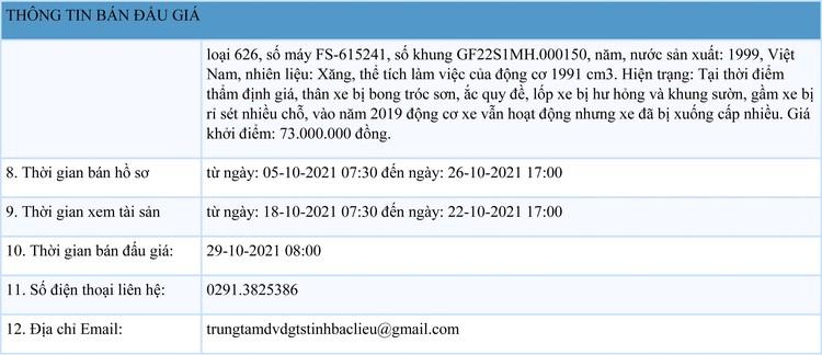 Ngày 29/10/2021, đấu giá 2 xe ô tô tại tỉnh Bạc Liêu ảnh 2