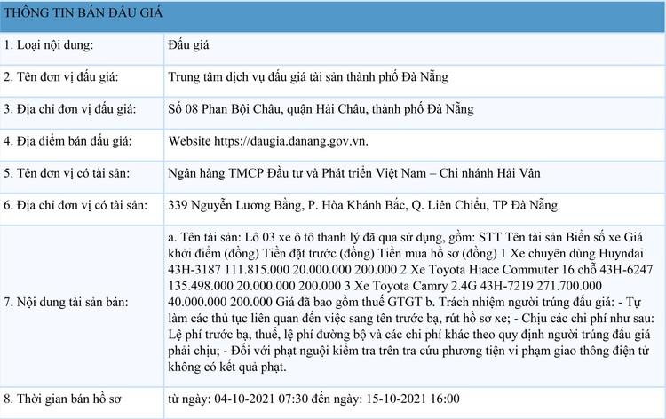 Ngày 18/10/2021, đấu giá lô 3 xe ô tô đã qua sử dụng tại thành phố Đà Nẵng ảnh 1