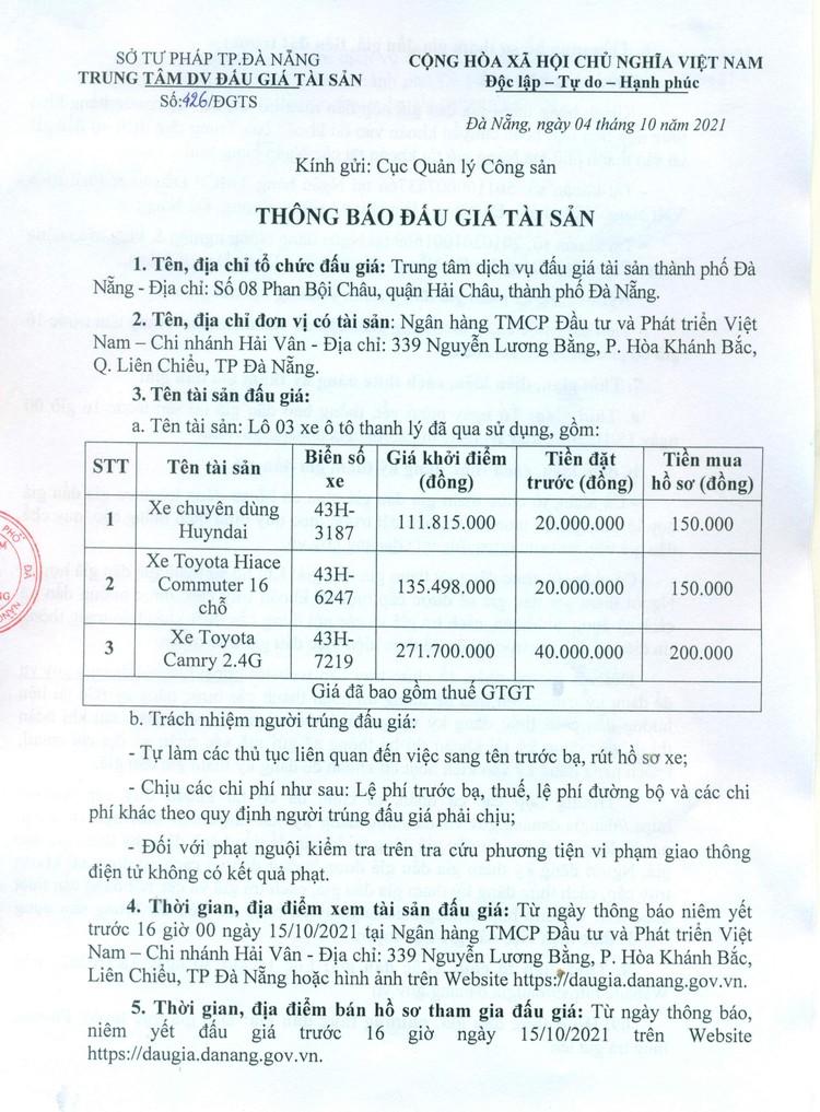 Ngày 18/10/2021, đấu giá lô 3 xe ô tô đã qua sử dụng tại thành phố Đà Nẵng ảnh 3