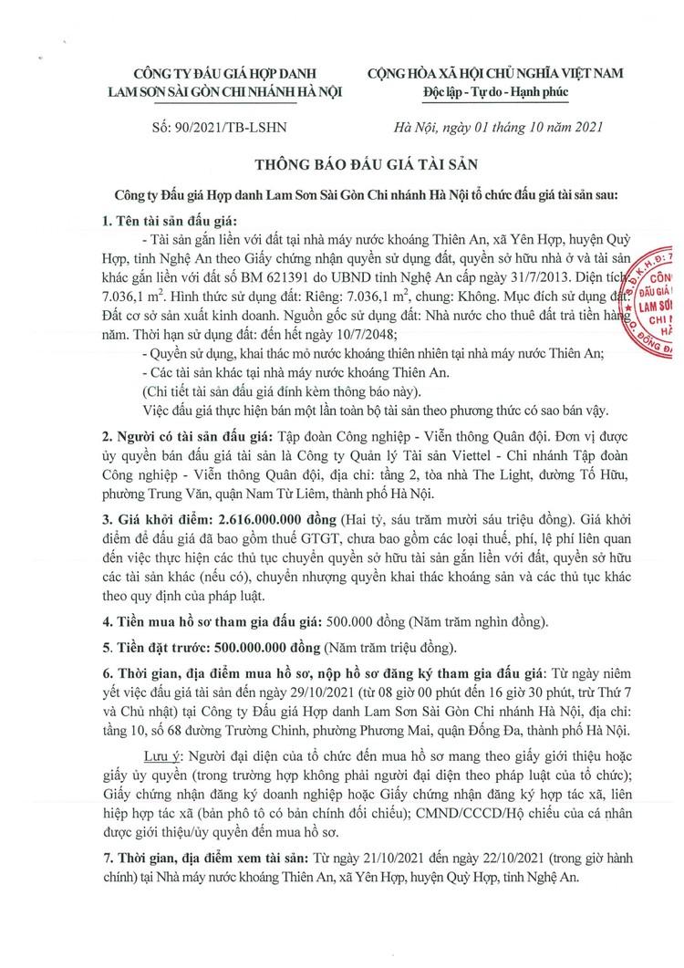 Ngày 1/11/2021, đấu giá tài sản gắn liền với đất tại nhà máy nước khoáng Thiên An, huyện Quỳ Hợp, tỉnh Nghệ An ảnh 3