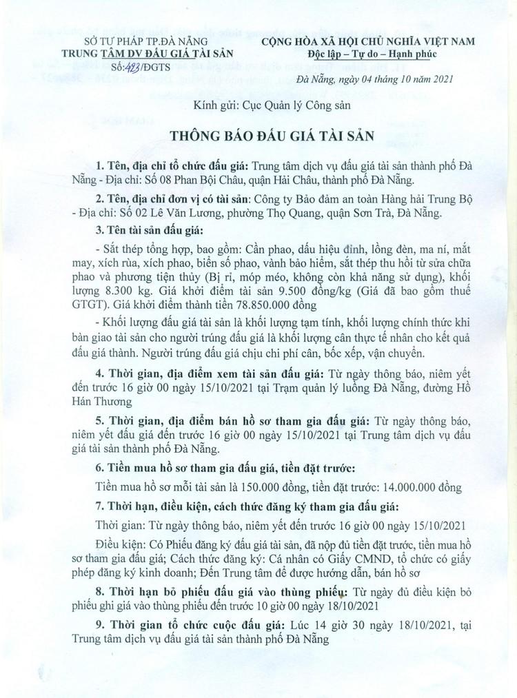 Ngày 18/10/2021, đấu giá sắt, thép tổng hợp tại thành phố Đà Nẵng ảnh 3