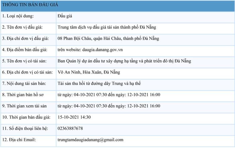 Ngày 15/10/2021, đấu giá tài sản thu hồi từ đường dây trung và hạ thế tại thành phố Đà Nẵng ảnh 1