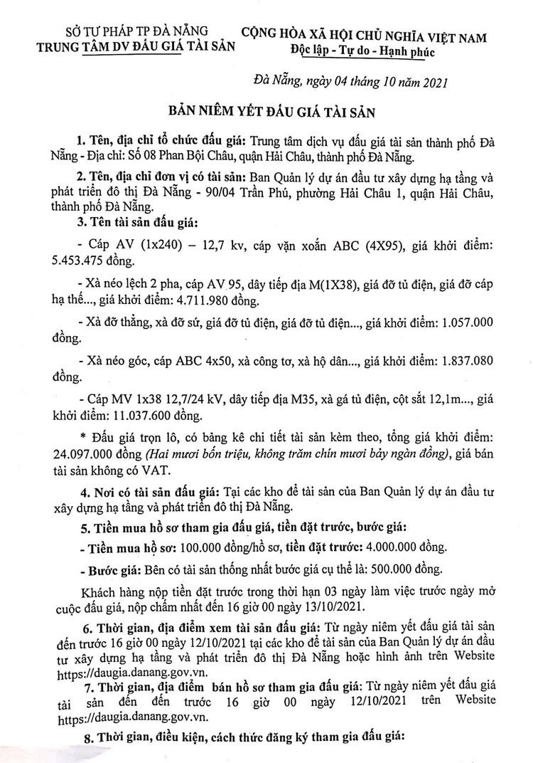Ngày 15/10/2021, đấu giá tài sản thu hồi từ đường dây trung và hạ thế tại thành phố Đà Nẵng ảnh 2