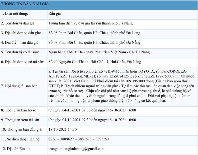 Ngày 18/10/2021, đấu giá xe ô tô TOYOTA tại thành phố Đà Nẵng ảnh 1