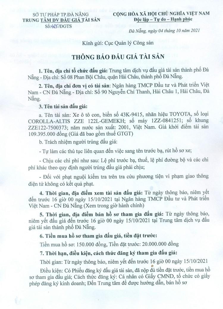 Ngày 18/10/2021, đấu giá xe ô tô TOYOTA tại thành phố Đà Nẵng ảnh 2