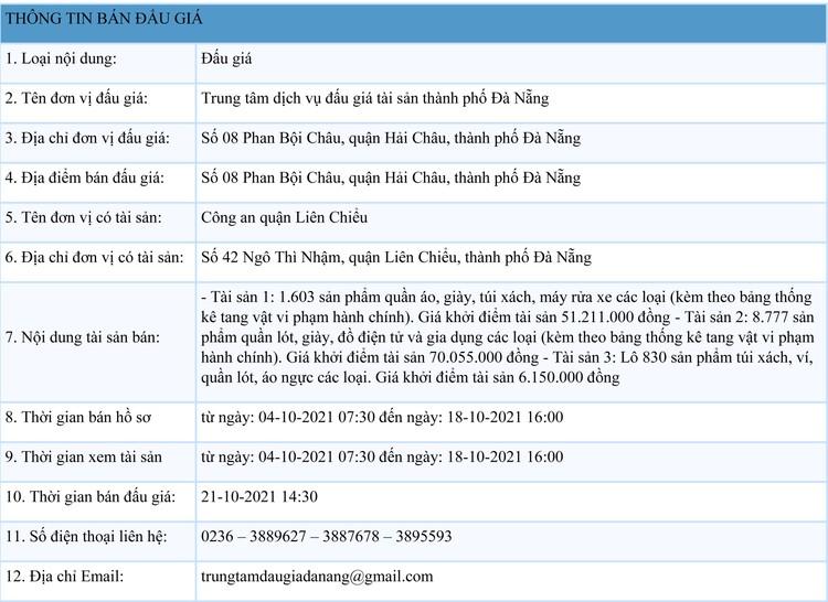 Ngày 21/10/2021, đấu giá tang vật tịch thu do vi phạm hành chính tại thành phố Đà Nẵng ảnh 1