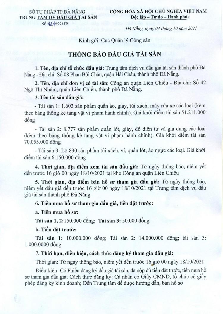 Ngày 21/10/2021, đấu giá tang vật tịch thu do vi phạm hành chính tại thành phố Đà Nẵng ảnh 2