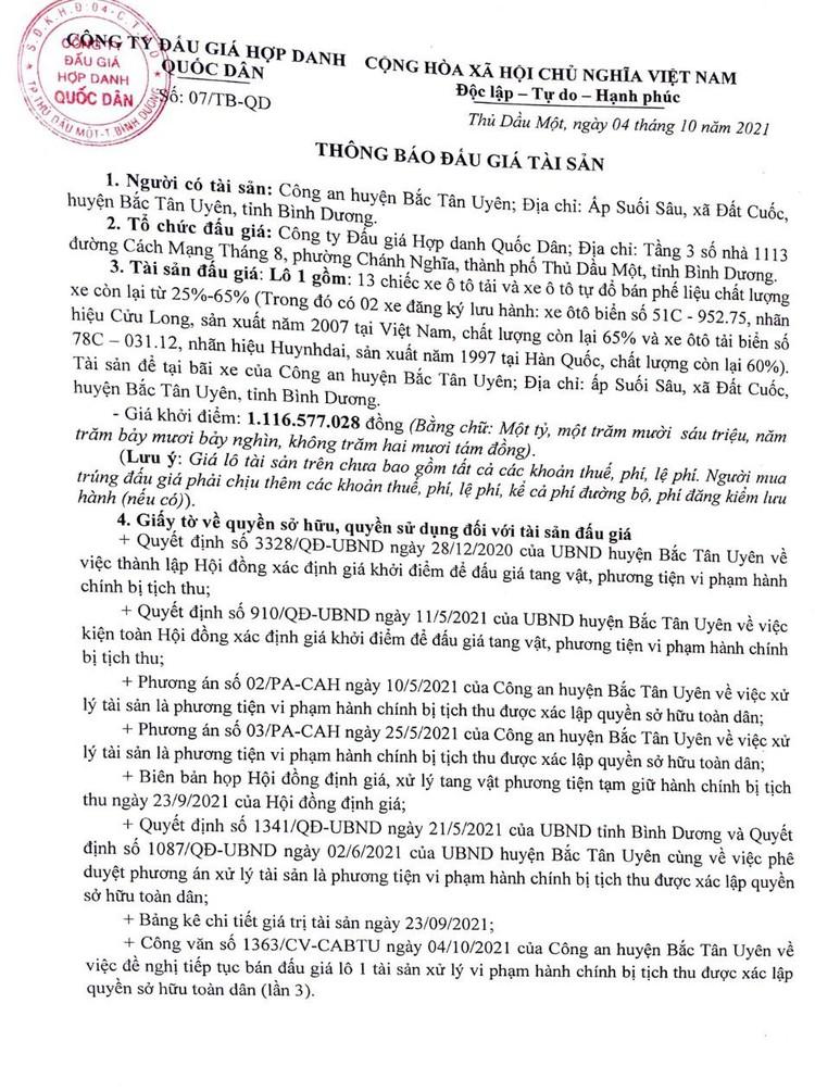 Ngày 21/10/2021, đấu giá 13 xe ô tô tải và xe tự đổ tại tỉnh Bình Dương ảnh 2