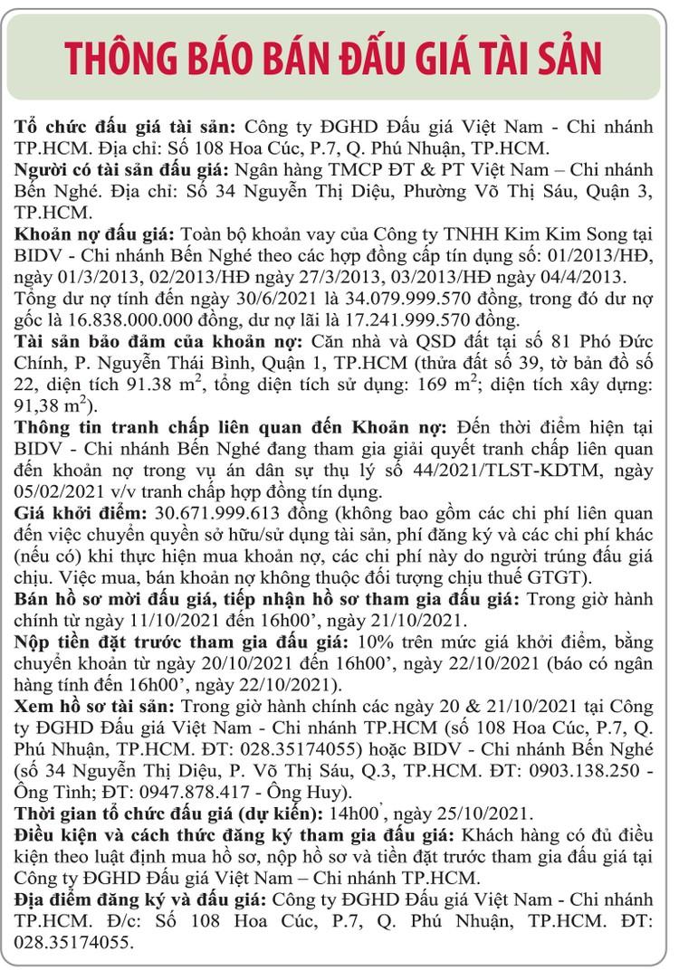 Ngày 25/10/2021, đấu giá toàn bộ khoản vay của Công ty TNHH Kim Kim Dong tại BIDV Chi nhánh Bến Nghé ảnh 1