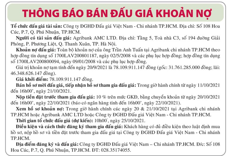 Ngày 25/10/2021, đấu giá toàn bộ khoản nợ của ông Trần Anh Tuấn tại Agribank Chi nhánh TP.HCM ảnh 1