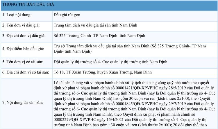 Ngày 13/10/2021, đấu giá tang vật vi phạm hành chính tại tỉnh Nam Định ảnh 1