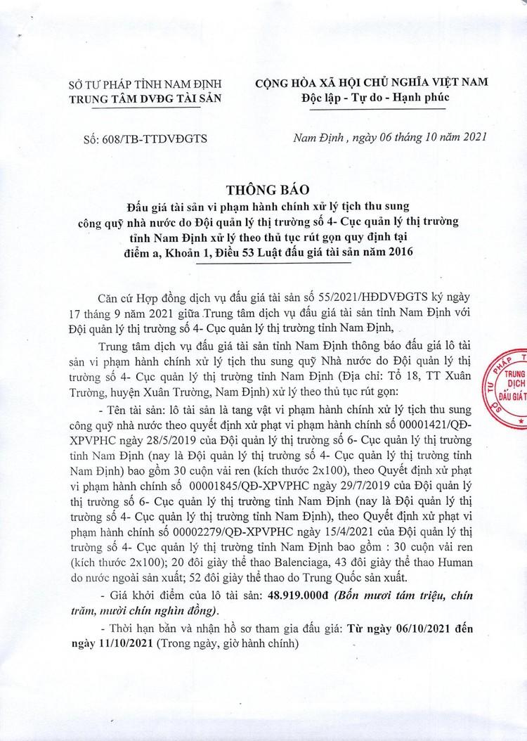 Ngày 13/10/2021, đấu giá tang vật vi phạm hành chính tại tỉnh Nam Định ảnh 3