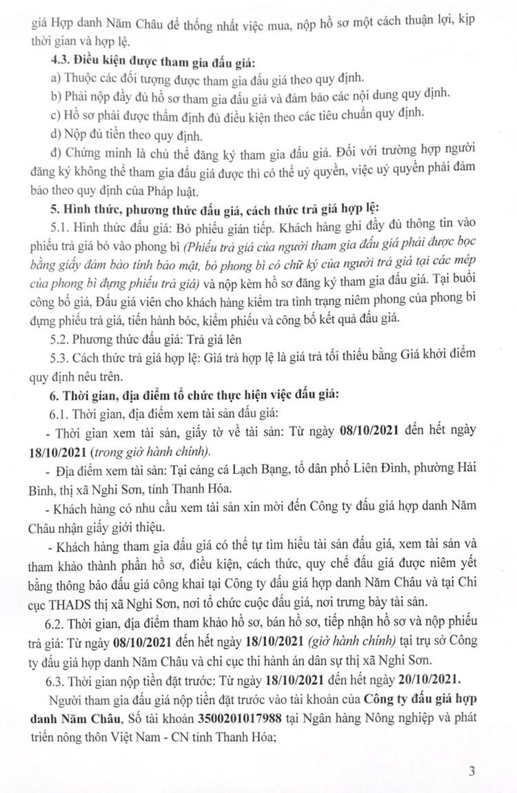 Ngày 21/10/2021, đấu giá 01 tàu cá vỏ gỗ tại tỉnh Thanh Hóa ảnh 5