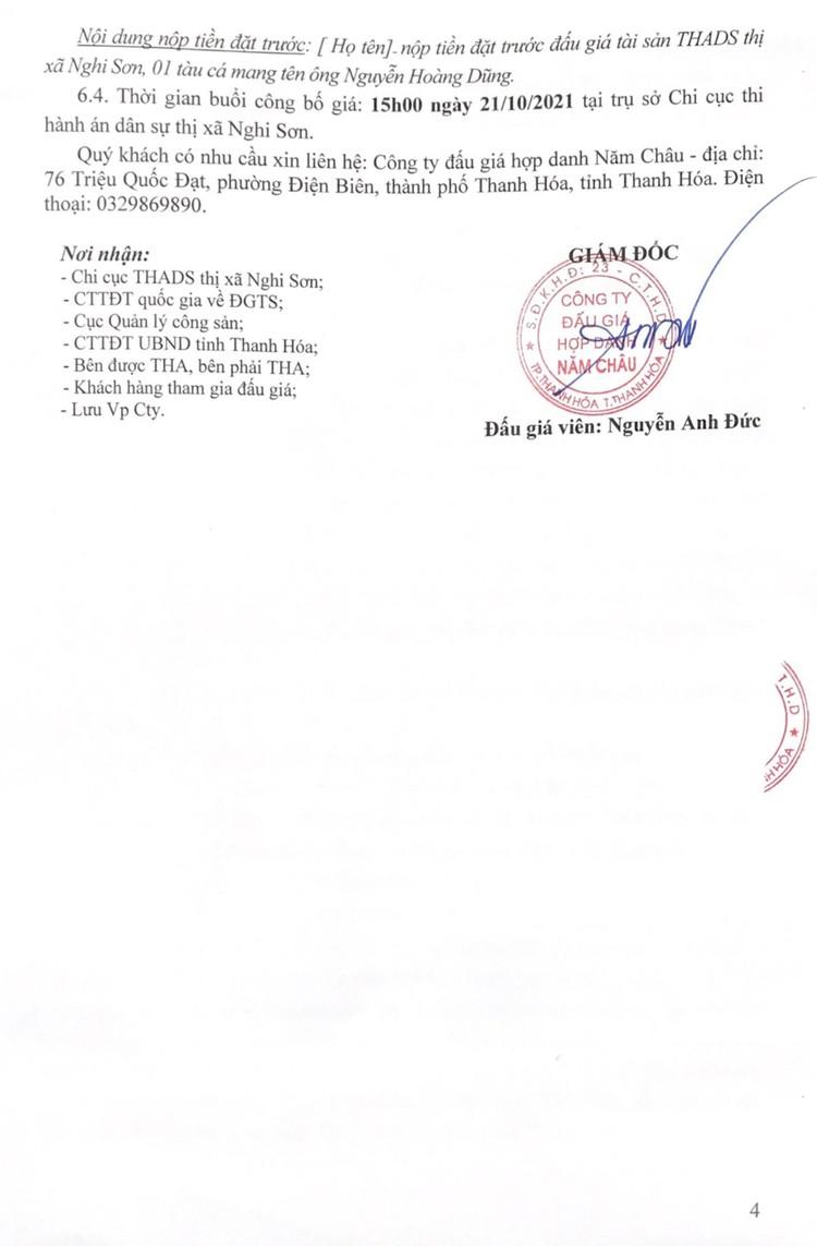 Ngày 21/10/2021, đấu giá 01 tàu cá vỏ gỗ tại tỉnh Thanh Hóa ảnh 6