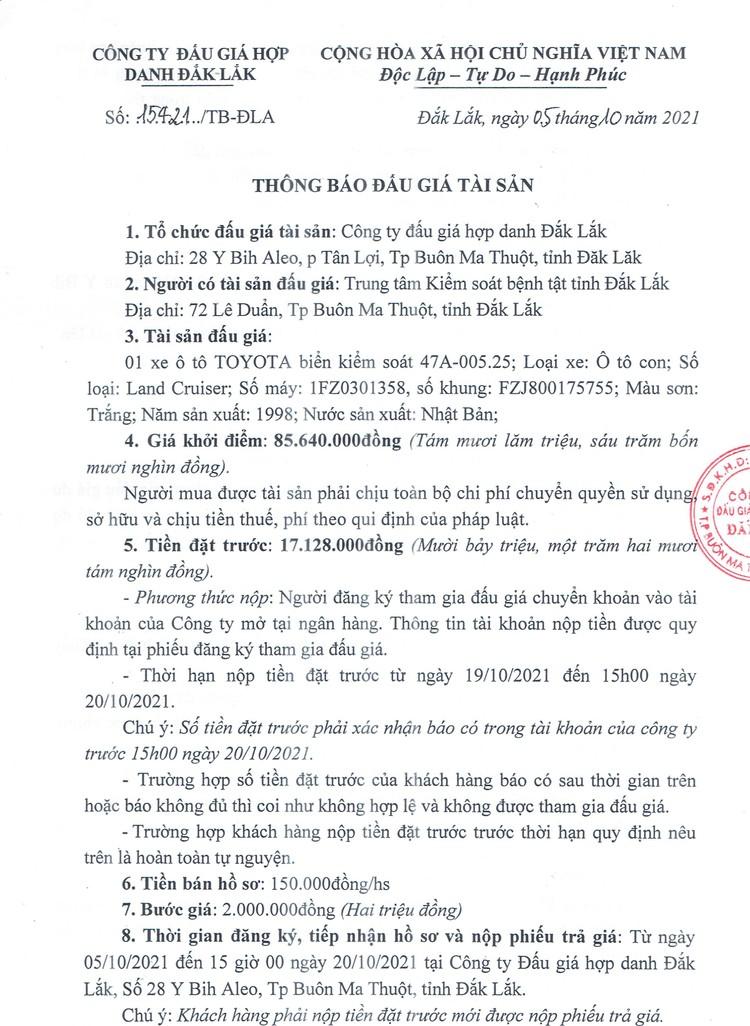 Ngày 22/10/2021, đấu giá xe ô tô TOYOTA tại tỉnh Đắk Lắk ảnh 2