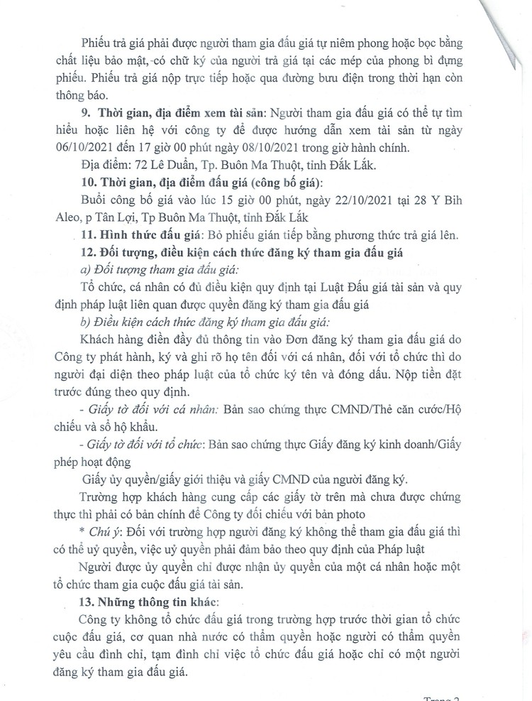 Ngày 22/10/2021, đấu giá xe ô tô TOYOTA tại tỉnh Đắk Lắk ảnh 3