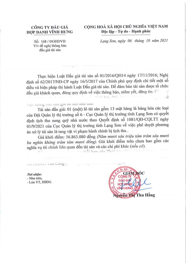Ngày 22/10/2021, đấu giá tang vật vi phạm hành chính bị tịch thu tại tỉnh Lạng Sơn ảnh 2