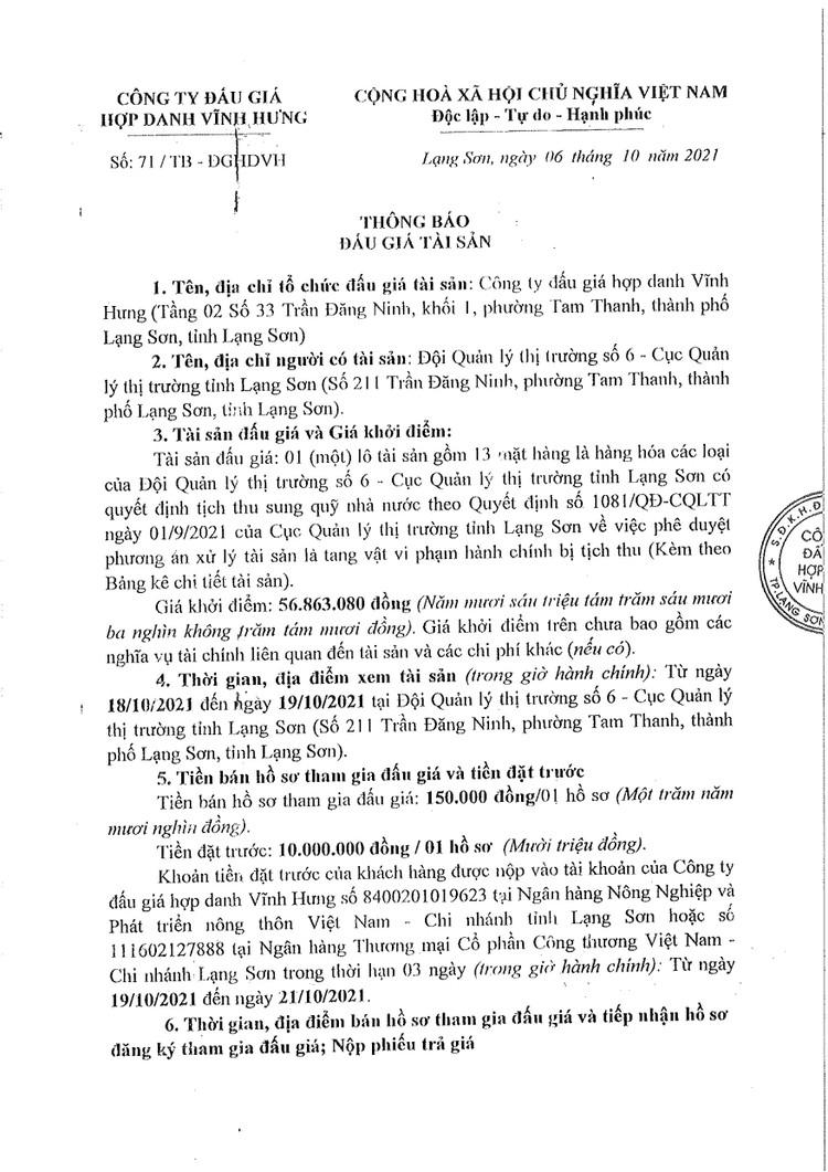 Ngày 22/10/2021, đấu giá tang vật vi phạm hành chính bị tịch thu tại tỉnh Lạng Sơn ảnh 3