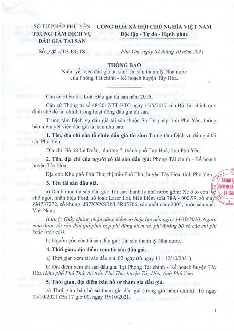 Ngày 22/10/2021, đấu giá xe ô tô Ford tại tỉnh Phú Yên ảnh 2