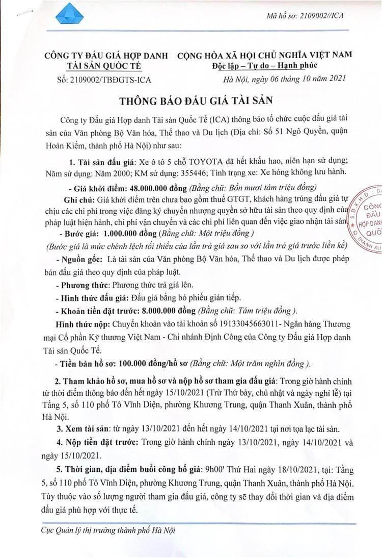 Ngày 18/10/2021, đấu giá xe ô tô TOYOTA tại Hà Nội ảnh 2