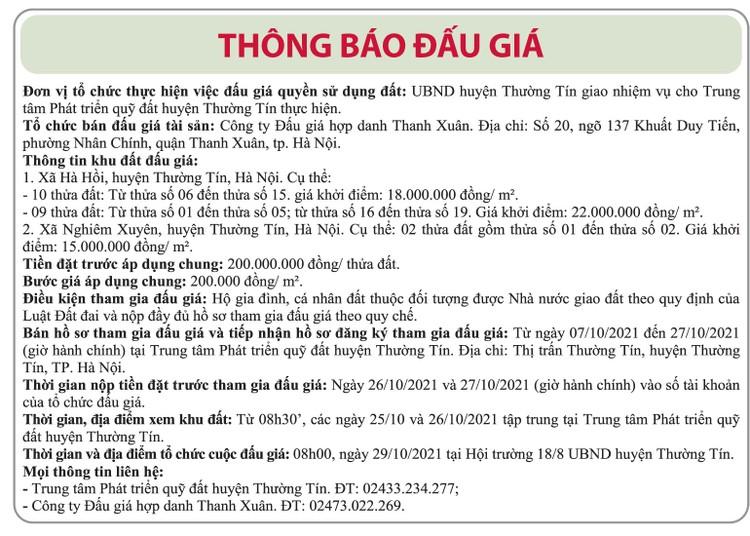 Ngày 29/10/2021, đấu giá quyền sử dụng đất tại huyện Thường Tín, Hà Nội ảnh 1