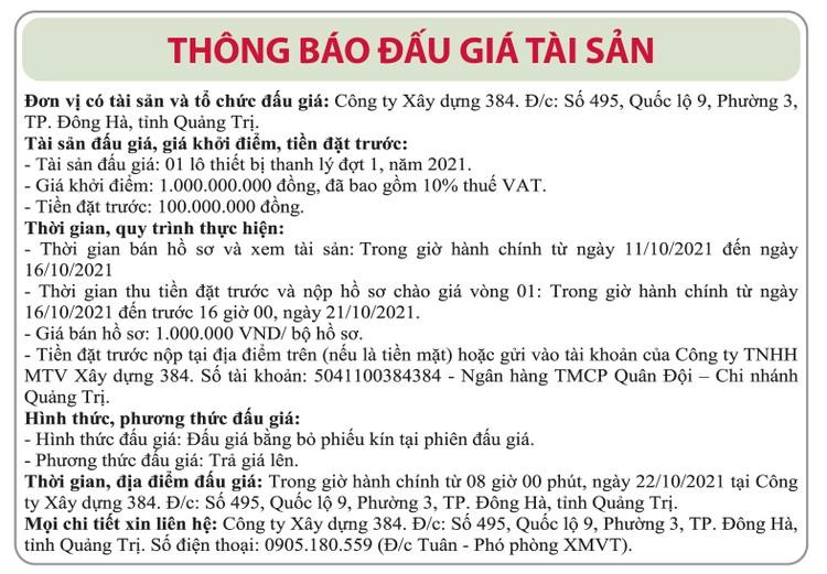 Ngày 22/10/2021, đấu giá 1 lô thiết bị thanh lý đợt 1 năm 2021 tại tỉnh Quảng Trị ảnh 1