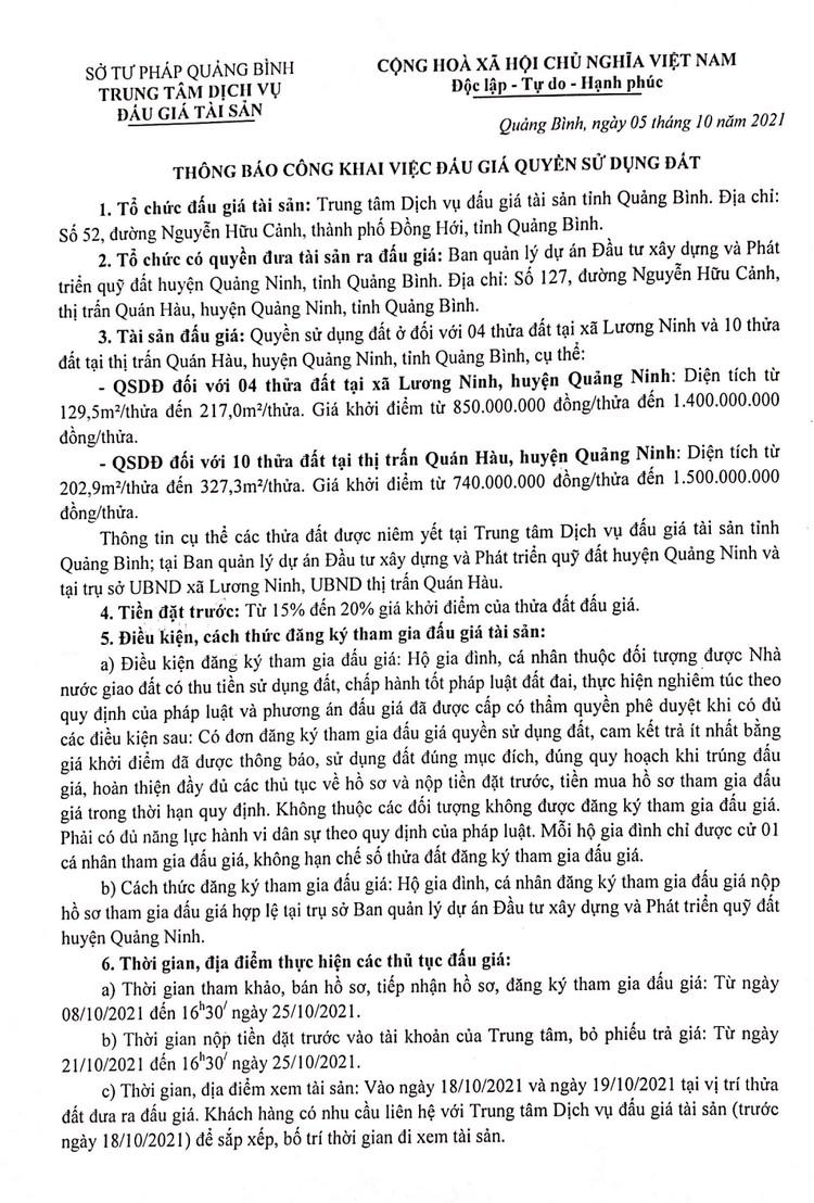 Ngày 28/10/2021, đấu giá quyền sử dụng đất tại huyện Quảng Ninh, tỉnh Quảng Bình ảnh 2