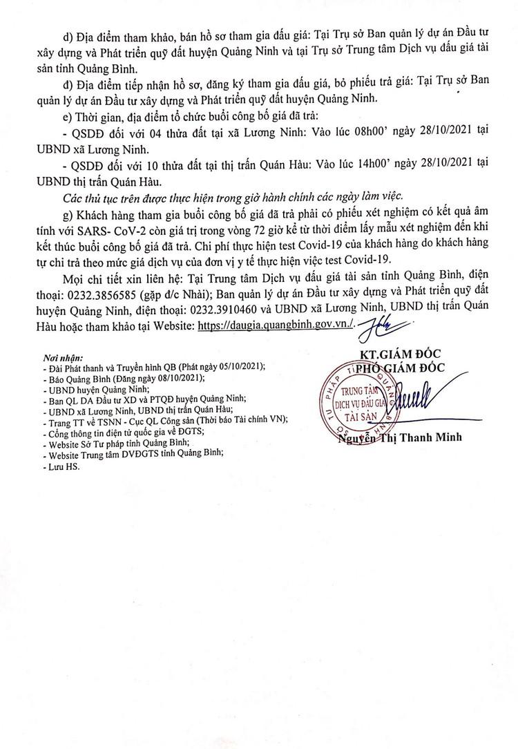 Ngày 28/10/2021, đấu giá quyền sử dụng đất tại huyện Quảng Ninh, tỉnh Quảng Bình ảnh 3