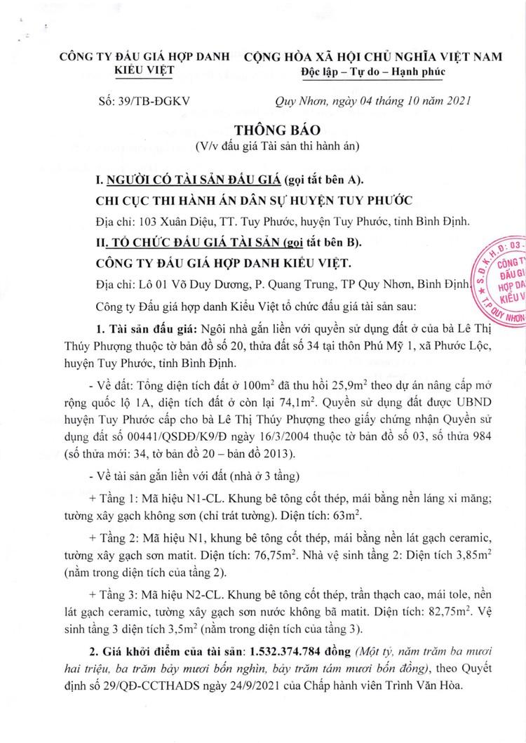 Ngày 27/10/2021, đấu giá quyền sử dụng đất tại huyện Tuy Phước, tỉnh Bình Định ảnh 2