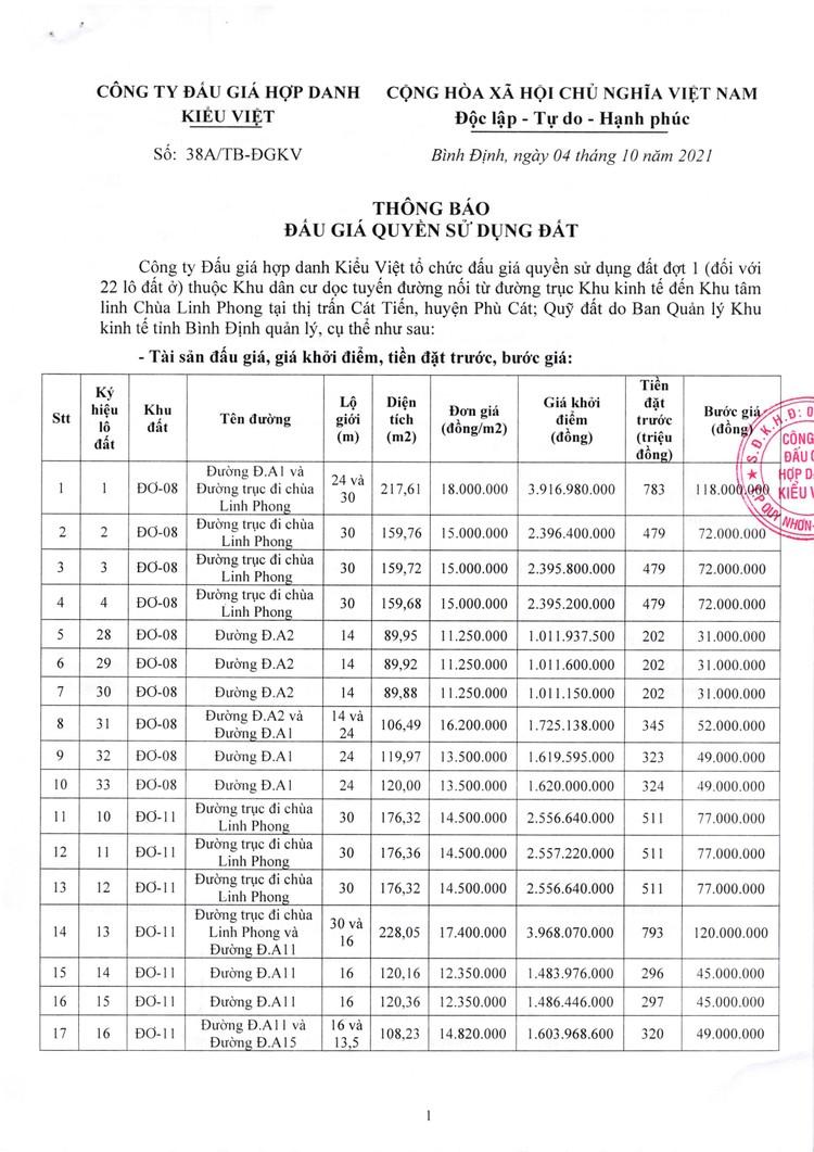 Ngày 20/11/2021, đấu giá quyền sử dụng đất tại huyện Phù Cát, tỉnh Bình Định ảnh 2
