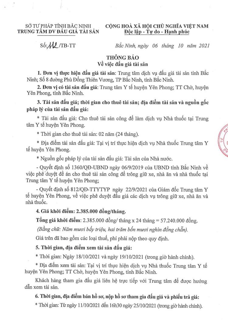 Ngày 28/10/2021, đấu giá thuê tài sản công để làm dịch vụ nhà thuốc tại TTYT huyện Yên Phong, tỉnh Bắc Ninh ảnh 2
