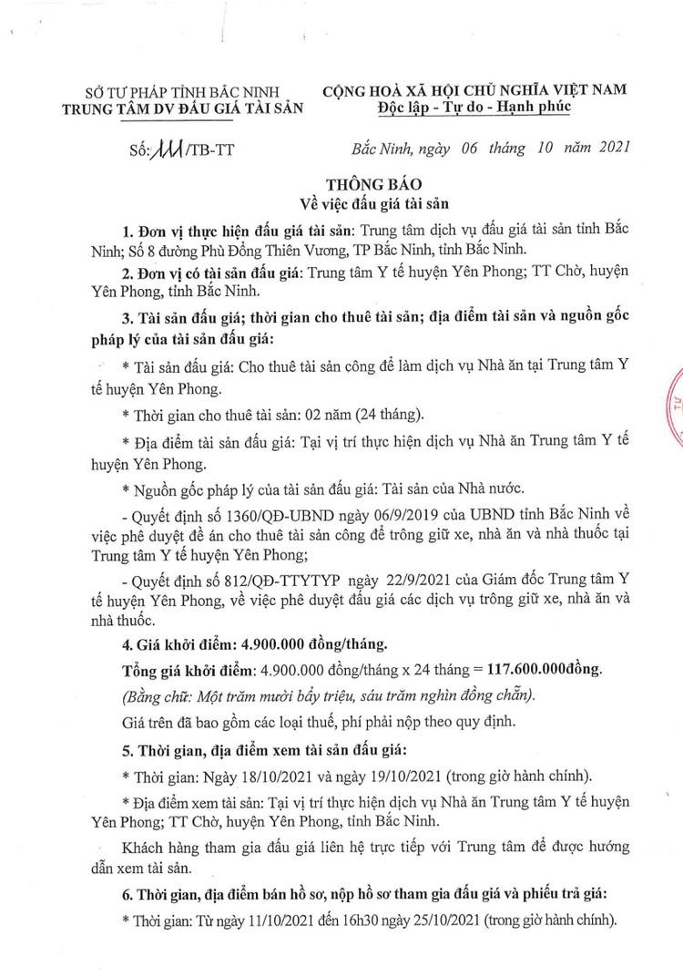 Ngày 28/10/2021, đấu giá thuê tài sản công để làm dịch vụ nhà ăn tại TTYT huyện Yên Phong, tỉnh Bắc Ninh ảnh 2