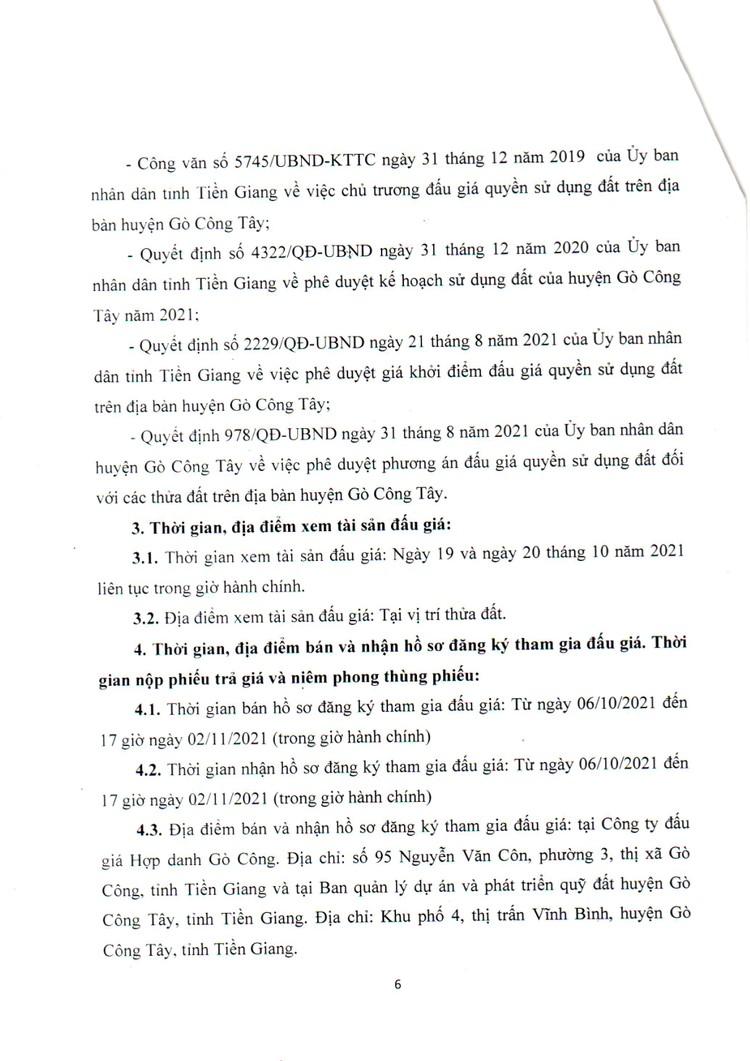 Ngày 5/11/2021, đấu giá quyền sử dụng đất tại huyện Gò Công Tây, tỉnh Tiền Giang ảnh 7