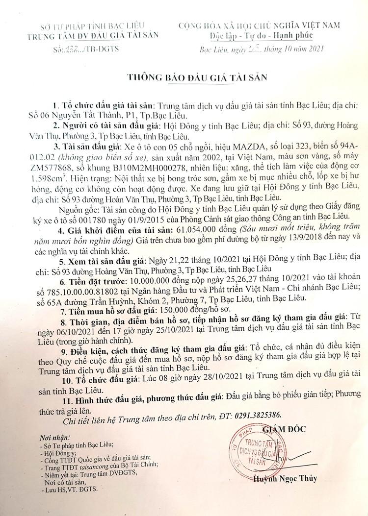 Ngày 28/10/2021, đấu giá xe ô tô MAZDA tại tỉnh Bạc Liêu ảnh 2