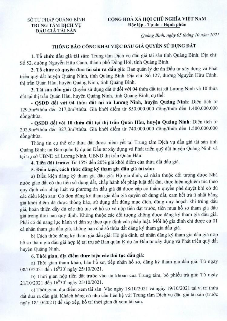 Ngày 28/10/2021, đấu giá quyền sử dụng 10 thửa đất tại huyện Quảng Ninh, tỉnh Quảng Bình ảnh 2