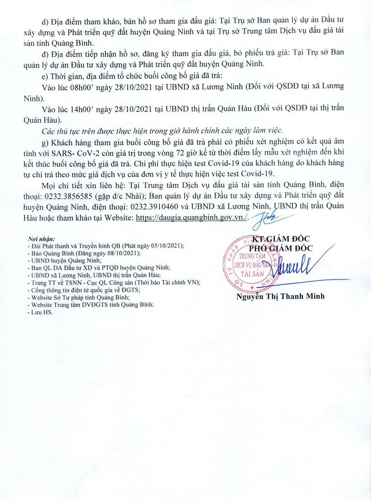 Ngày 28/10/2021, đấu giá quyền sử dụng 10 thửa đất tại huyện Quảng Ninh, tỉnh Quảng Bình ảnh 3